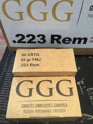 GGG .223R, 55 Grain FMJ, 50 ptr