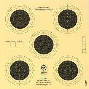 Luftgevärstavla med 5 prickar  14x14 cm
