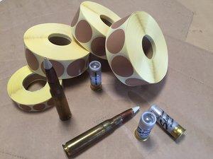 UTFÖRSÄLJNING: 50% rabatt på Klisterlappar BRUN Rund 40mm