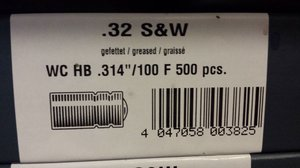 "HN .32 WC .314""/100 Grain WC Kula BLY, 500 s"