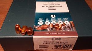 HN 9 mm HP .356/ 115 Grain HP HS, 500 st